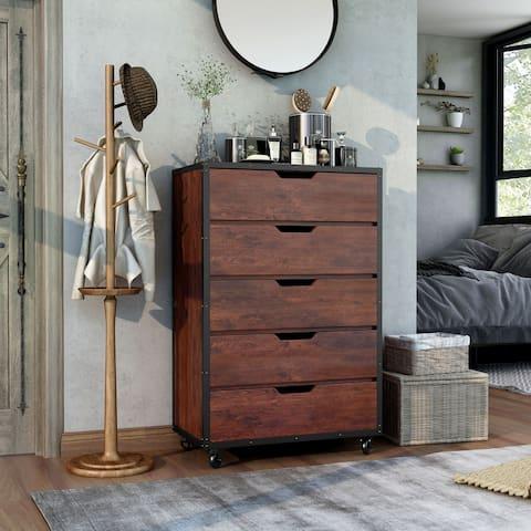Furniture of America Aurville Vintage Walnut 5-Drawer Chest