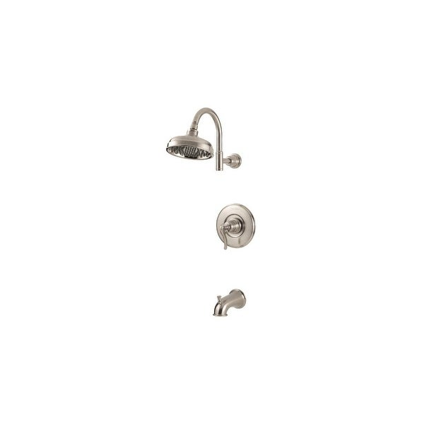 Pfister G89-8YP Ashfield Tub and Shower Faucet Valve Trim Pressure Balanced with Raincan Shower Head and Tub Spout
