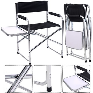 Costway Aluminum Folding Director's Chair with Side Table Camping Traveling