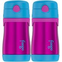 Thermos FOOGO Vacuum 10oz Straw Bottle, Aubergine/Blue - 2 Pack