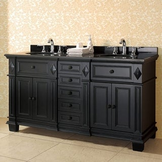 """Miseno MVES60 60"""" Free Standing Vanity Set with Cabinet, Granite Vanity Top, Two Undermount Sinks and Widespread Faucet Holes"""