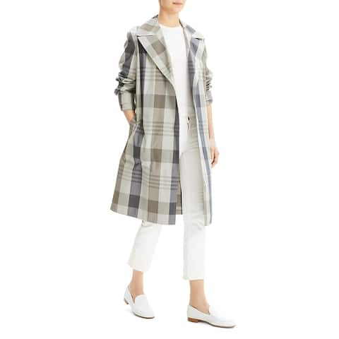 Theory Womens Trench Coat Silk Blend Military - Multi