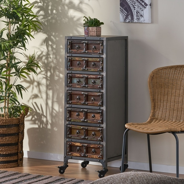 """Muntz Handcrafted Boho Wooden 7 Drawer Chest by Christopher Knight Home - 15.75"""" L x 13.75"""" W x 43.75"""" H. Opens flyout."""