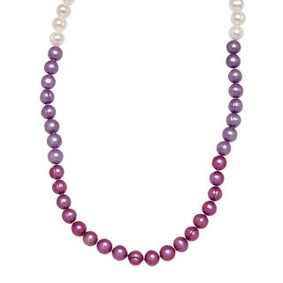 Honora Purple Freshwater Pearl Ombré Strand Necklace in Sterling Silver