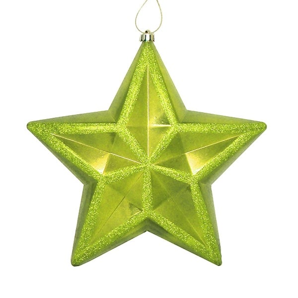"12"" Shiny Green Kiwi Commercial Size Shatterproof Star Christmas Ornament"