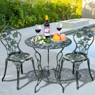 Costway Patio Furniture Cast Aluminum Rose Design Bistro Set Antique Green  (Green)