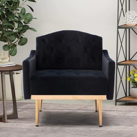 TiramisuBest Leisure single Sofa with Rose Golden Feet,Black