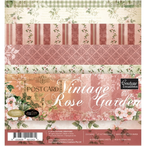 """Couture Creations Paper Pad 6""""X6""""-Vintage Rose Garden"""