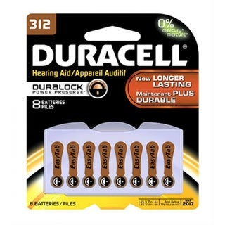 Duracell 00279 Hearing Aid Zinc Air Battery with EasyTab, #312, 8-Pack