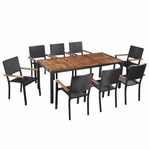 vidaXL Solid Acacia Wood Outdoor Dining Set 9 Pieces Poly Rattan Furniture