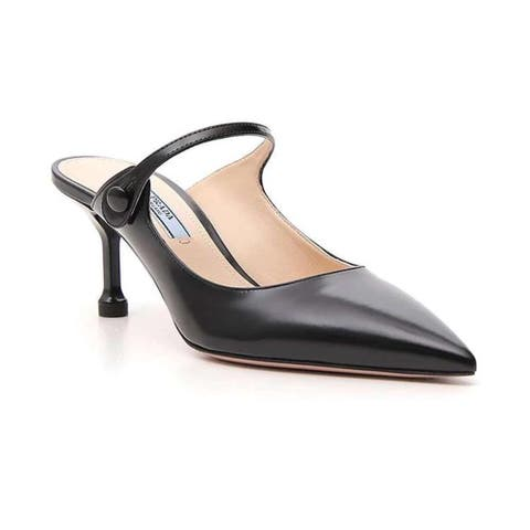 PRADA Women's Leather Pointed Toe Sandal Shoes Black