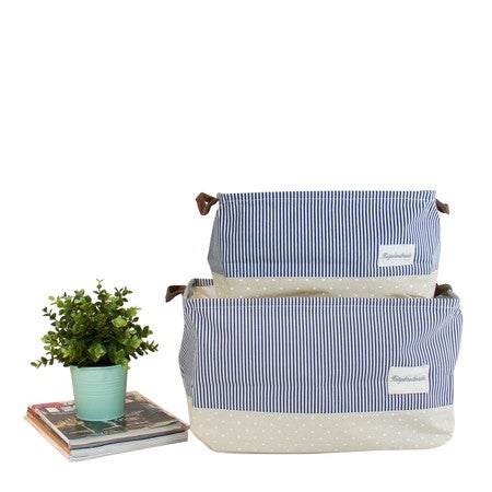 G Home Collection Drawstring Top Blue Linen Storage Box With Handles (Set  Of 2)