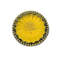 Czech Glass Flat Back Button Cabochons, Sunflower Burst 18.5mm Round, 1 Piece, Yellow and Gold