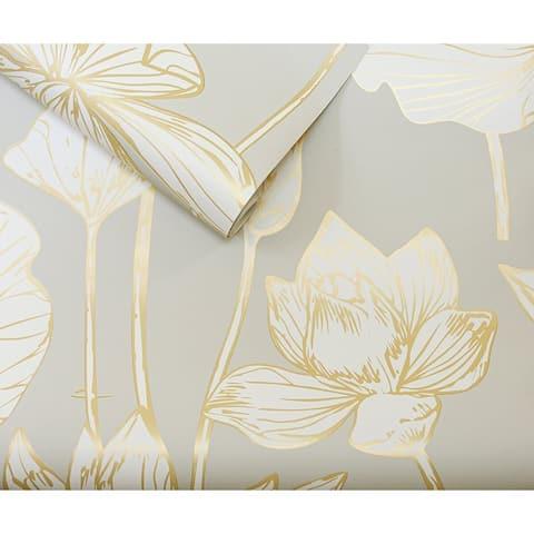 NextWall Lotus Floral Peel and Stick Wallpaper