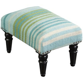 """18"""" Blue, Green and Ivory Striped Upholstered Wool and Wooden Foot Stool Ottoman"""