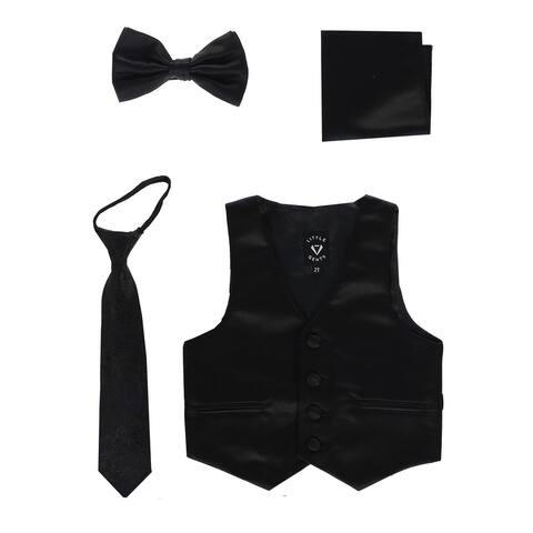 Lito Baby Boys Black Satin Vest Zipper Tie Hanky Bowtie Clothing Set 12-18M - 12-18 Months