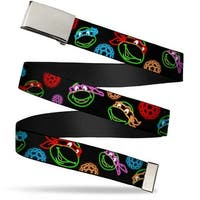 "Blank Chrome 1.0"" Buckle Classic Tmnt Electric Expressions Turtle Shells Web Belt 1.0"" Wide - S"
