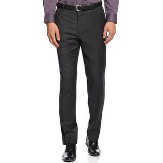 BAR III Mens Slim Fit Trousers Pants Dark Charcoal Gray Wool Mini Check Hemmed