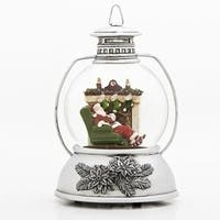"""Pack of 2 Traditional Santa in Fireplace Lantern Style Glitter Dome Musical Christmas Decor 8"""" - Green"""