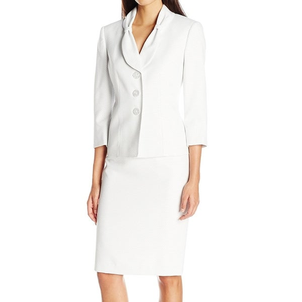2313a2e4aee31 Shop Le Suit NEW White Womens Size 10 Three-Button Dot-Print Skirt ...