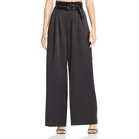 Bec & Bridge Womens Claudia Dress Pants Wide Leg Pleated - Black