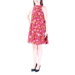 FREE PEOPLE $88 Womens New 1338 Red Floral Pleated Sleeveless Shift Dress S B+B