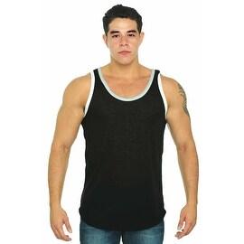 Men's Tank top 2 Tone Bound self-trim neck & armhole Gym Muscle Shirt Workout