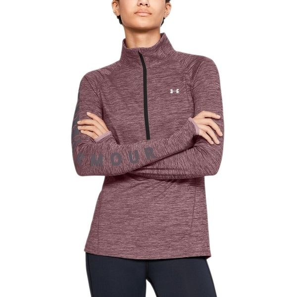 Under Armour Women's Coldgear Graphic Half Zip Top (Purple, L)
