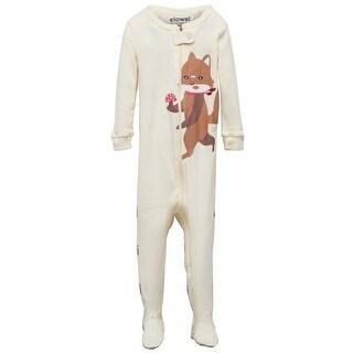 Elowel Little Girls Brown Fox Printed Zipper Footed Pajama Sleeper 2-5