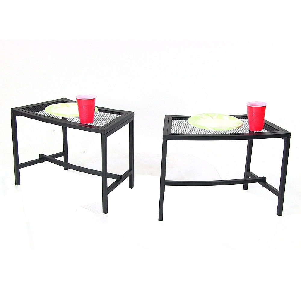 Sunnydaze Black Mesh Patio Side Table - Multiple Quantities Available - Thumbnail 5