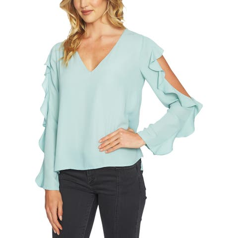 1.State Womens Blouse Cold Shoulder Ruffled