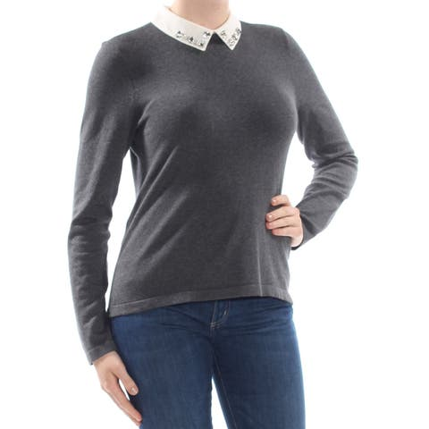 CECE Womens Gray Embellished Heather Long Sleeve Sweater Size: M