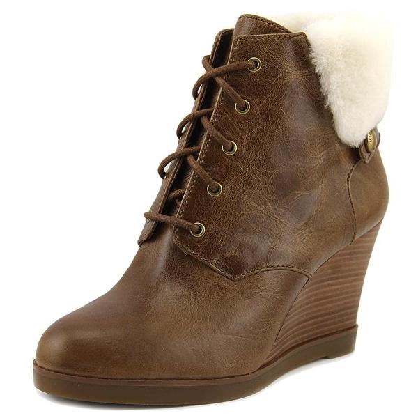Michael Michael Kors Carrigan Wedge Women Round Toe Leather Brown Bootie