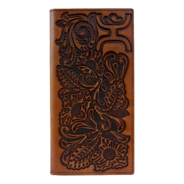 HOOey Western Wallet Mens Floral Signature Rodeo Chestnut - 3 1/2 x 3/4 x 7