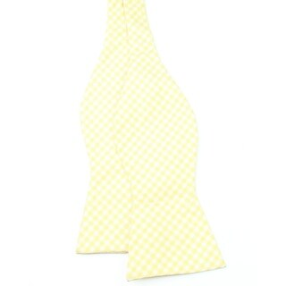 Tommy Hilfiger NEW Yellow White Men's One Size Gingham Silk Bow Tie