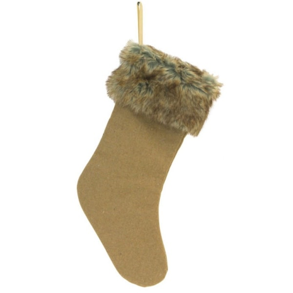 "20"" Country Rustic Style Camel Brown Christmas Stocking with Sepia Faux Fur Cuff"