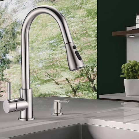 Proox Commercial Single Handle Pull Down Sprayer Kitchen Sink Faucet with Soap Dispenser