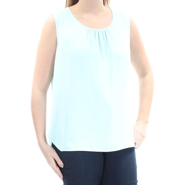 ANNE KLEIN Womens Light Blue Sleeveless Jewel Neck Top Size: 14