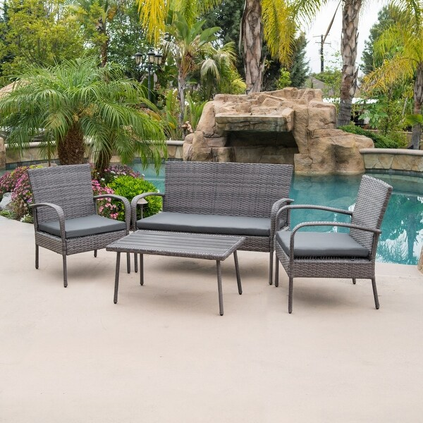 Belleze 4 Piece Outdoor Patio Wicker Set All Weather Rectangular Table Waterproof Outdoors Backyard Brown Grey Free Shipping Today