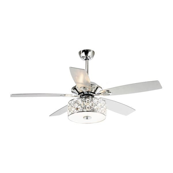52 Inch Crystal Chandelier Wooden 5 Blade Ceiling Fan With Remote On Sale Overstock 28865053