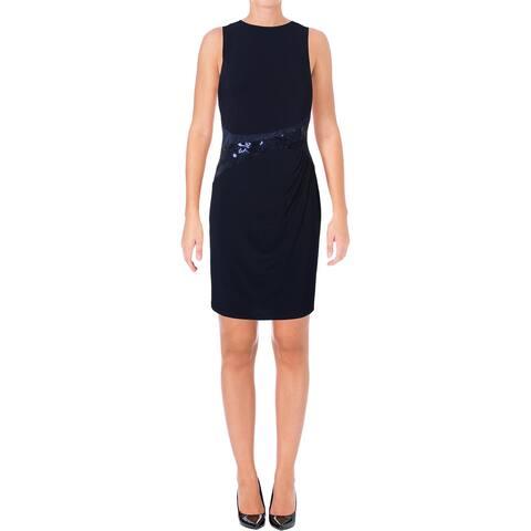 Lauren Ralph Lauren Womens Cocktail Dress Jersey Sequined Panel