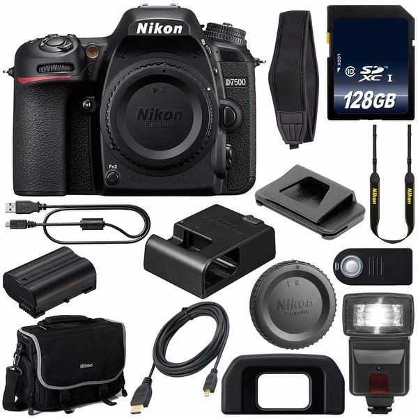 Nikon D7500 DSLR Camera (Body Only) 1581 + 128GB SDXC Card + External Flash + Mini HDMI Cable + Universal Remote Release Bundle