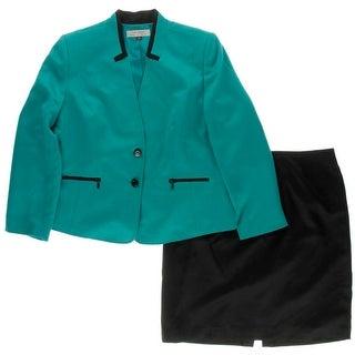 Tahari ASL Womens Plus Skirt Suit Colorblock Contrast Trim - 18