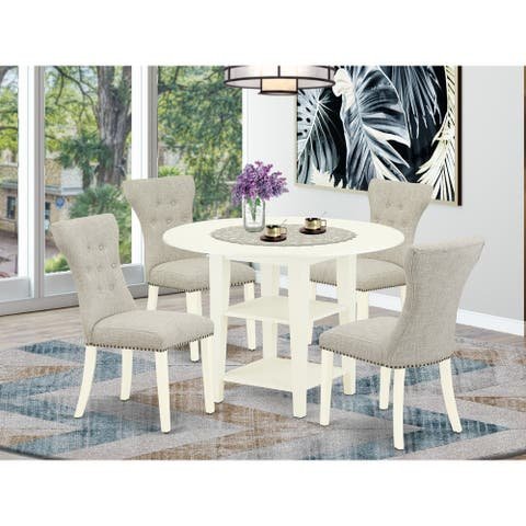 5-Pc Round Dining Table Set- Drops Leaf Dining Table and 4 Dining Chairs - High Back & Linen White Finish