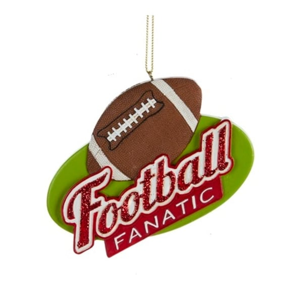 "3.75"" Red Glitter Football Fanatic Sports Christmas Ornament - brown"