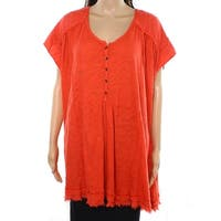 Free People Orange Womens Size Small S Short Sleeve Side Slit Tunic