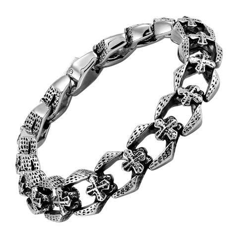 Men's Stainless Steel Etched Cross Link Bracelet, 8.5 Inches
