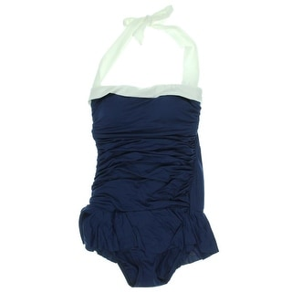Lauren Ralph Lauren Womens Bandeau Shirred One-Piece Swimsuit
