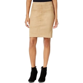 Kensie Womens Pencil Skirt Faux-Suede Fitted - S