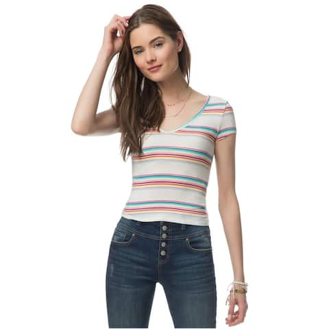 Aeropostale Womens Striped Cropped Graphic T-Shirt